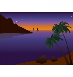 tropical palm beach at sunset vector image vector image