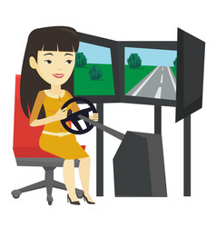 Woman playing video game with gaming wheel vector