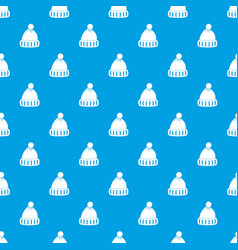 woolen hat pattern seamless blue vector image vector image