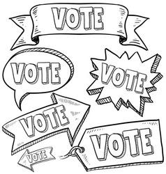 doodle label tag banner vote vector image