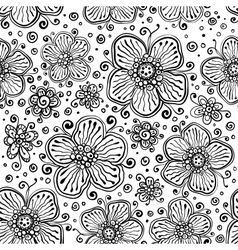Black and white ink painted flowers vector