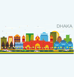 Dhaka skyline with color buildings and blue sky vector