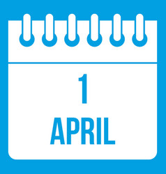 Calendar april 1 icon white vector