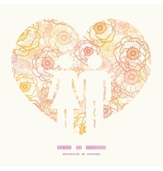 Warm flowers couple in love silhouettes vector