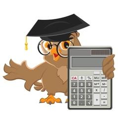 Owl teacher holding calculator vector image