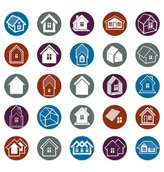 Different houses icons vector