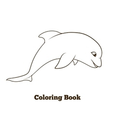 Coloring book dolphin cartoon educational vector