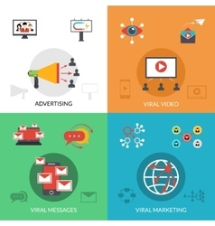 Viral marketing 4 flat icons square vector