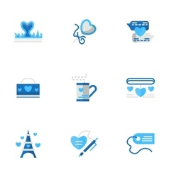 Romantic adventures blue flat icons vector