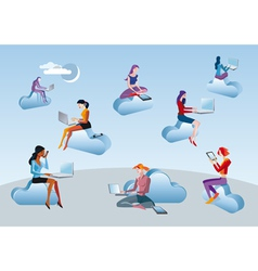 Cloud Computing Girls vector image