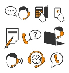 Web consultants with headphones call center icons vector