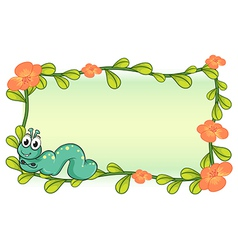 A caterpillar and a flower plant frame vector image