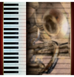abstract grunge brown background with piano and vector image