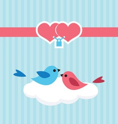 Birds in love on a cloud vector image vector image