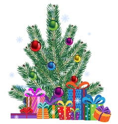 Christmas tree and gift boxes vector image vector image