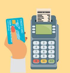 Credit card and pos terminal flat vector