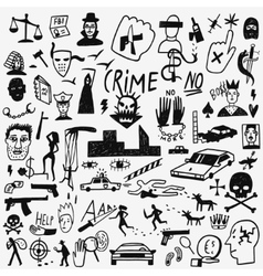 Crime doodles set vector