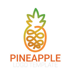 Drawn one line pineapple vector