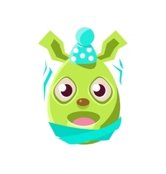 Easter egg shaped green easter bunny schievering vector