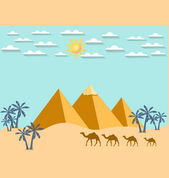 Egypt camels on the background of the pyramids vector