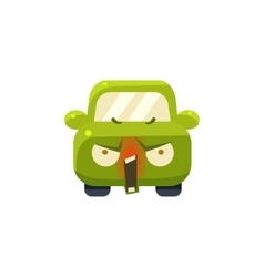 Enraged Green Car Emoji vector image
