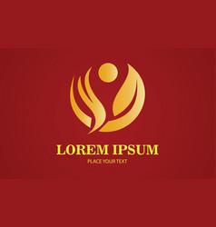 gold leaf enviroment logo vector image vector image