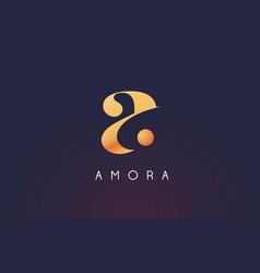 Gold letter a logo a letter design vector