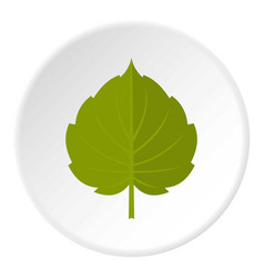 Green alder leaf icon circle vector