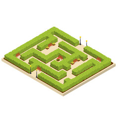 green labyrinth garden isometric view vector image vector image
