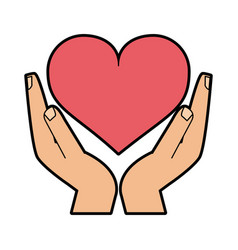 Hand holding heart cartoon icon image vector