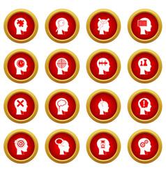Head logos icon red circle set vector