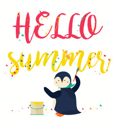 Hello summer banner with text and penguin vector