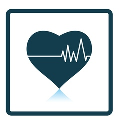 Icon of heart with cardio diagram vector