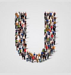 Large group of people in letter u form vector