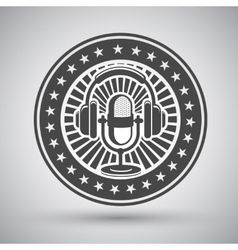 Retro microphone and headphones emblem vector image