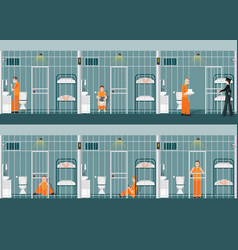 Rows of prison cells with life in jail vector