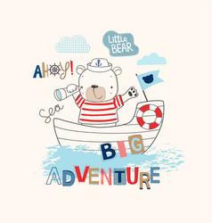 sailor bear cartoon vector image vector image