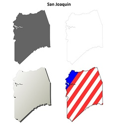 San joaquin county california outline map set vector