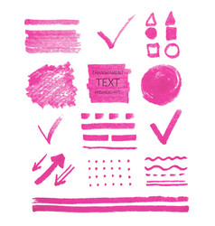Set of highlighter marker spots and signs vector