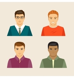set of male faces vector image vector image