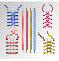 shoe laces and boot lacing type icons on vector image vector image