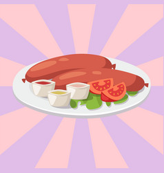 Smoke dried sausages with ketchup dish meat dinner vector