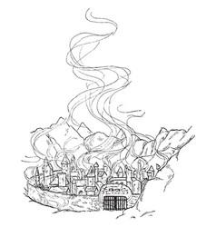 Surturs fire in the golden city vintage vector