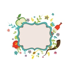 Vintage frame surrounding with flowers and rosh vector