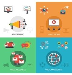 Viral marketing 4 flat icons square vector