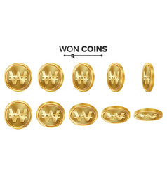 won 3d gold coins set realistic vector image vector image