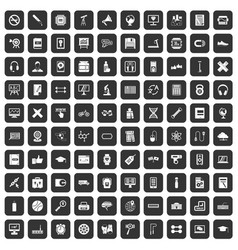 100 training icons set black vector
