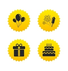 Birthday party icons cake and gift box symbol vector