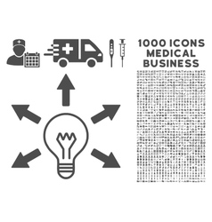 Idea icon with 1000 medical business pictograms vector