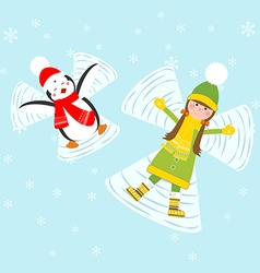 Penguin and girl making snow angels vector